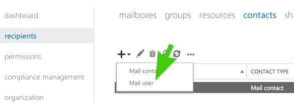 Create-New-Mail-User-Office365