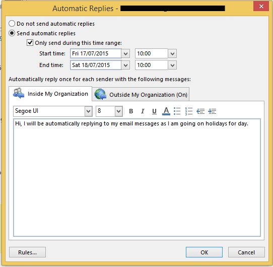 Outlook 2013 out of office setting up - Set up out of office in outlook ...