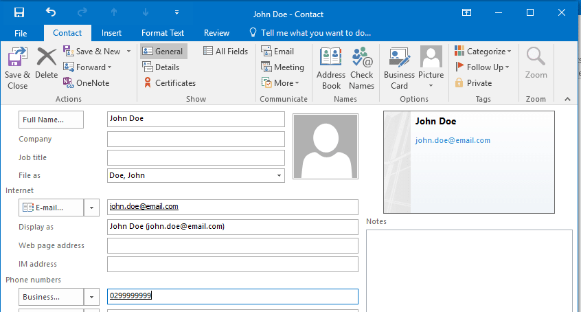 Create Contact Outlook 2016