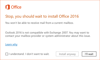 Stop you should wait office 2016