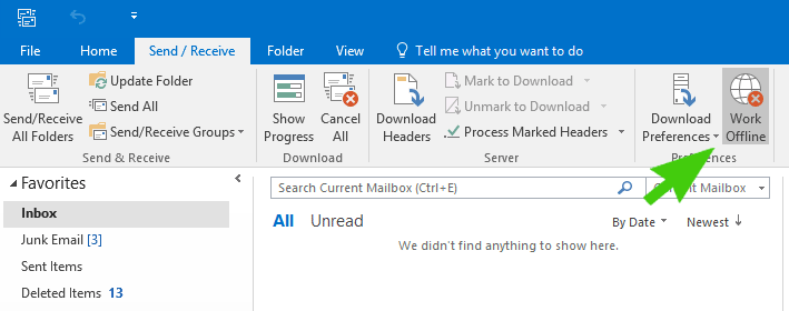 microsoft outlook working offline