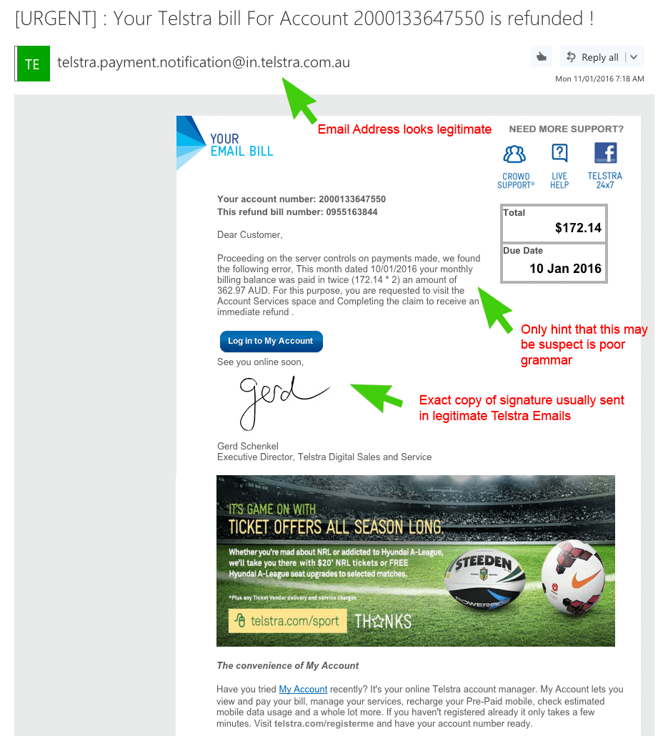 Telstra Scam Email