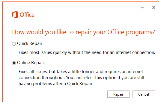 Office 2016 Online Repair