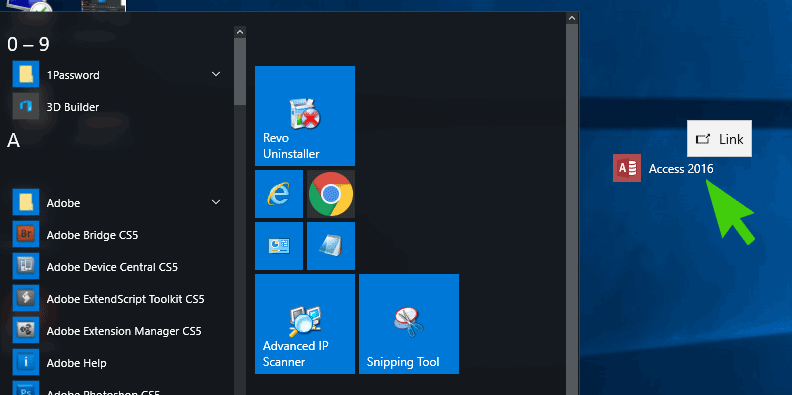 Send To - Create Shortcut On Desktop Missing from Windows 10 Start Menu