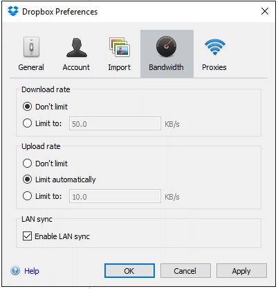 Enable Lansync Dropbox